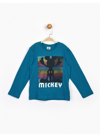 Mickey Mouse  Uzun Kol Çocuk Tişört 16232 Petrol